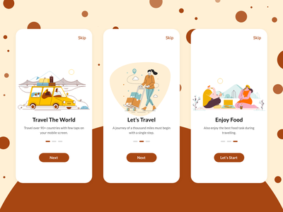 Onboarding Screens screens welcome agency travel agency android ios app interaction design branding illustration ux ui travel app relax chill roaming tour world onboarding ui travel