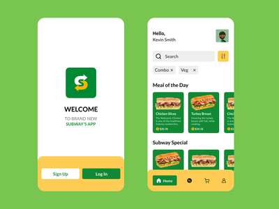Subway app redesigned tuesday subway burger purchase buy shop eatery trending minimal green food app designer app design food interaction design branding illustration ux ui redesign