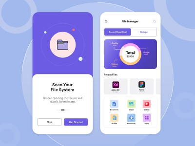 File manager app design ui design applications security app scanner virus designer app design file management cleaner file manager uiux trending minimal app branding illustration ux ui