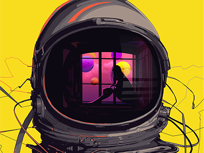 Dribbble #WhoKnows 090 suit astronaut wire yellow moon illustration space