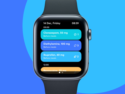 Time for Pills - Apple Watch App fireart fireart studio pills medicine medical healthcare health interaction apple watch animation ux ui app