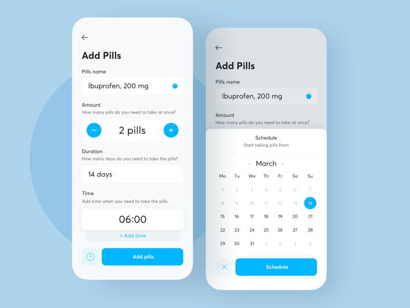 TFP — Add Pills 2 pills medicine healthcare health mobile fireart studio fireart ux ui app