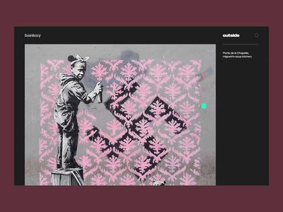 Banksy's site gallery cursordesign cursor scrolling scroll animation scroll graffiti after effects webanimation web fireart studio fireart banksy art animation ui