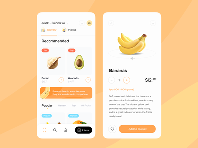 Delivery App shop buy popular ecommerce fruits food delivery ios mobile ux app ui