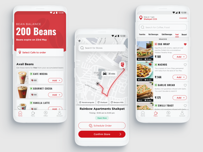 Cafe Coffee Day - Redesigned menu order materialdesign android redesign coffee beans interactiondesign coffee bean productdesign minimal xd uiuxdesign ux adobexd