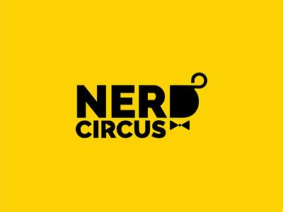 nerdcircus playful wordmark logo play shilhouette fun man neat nerd