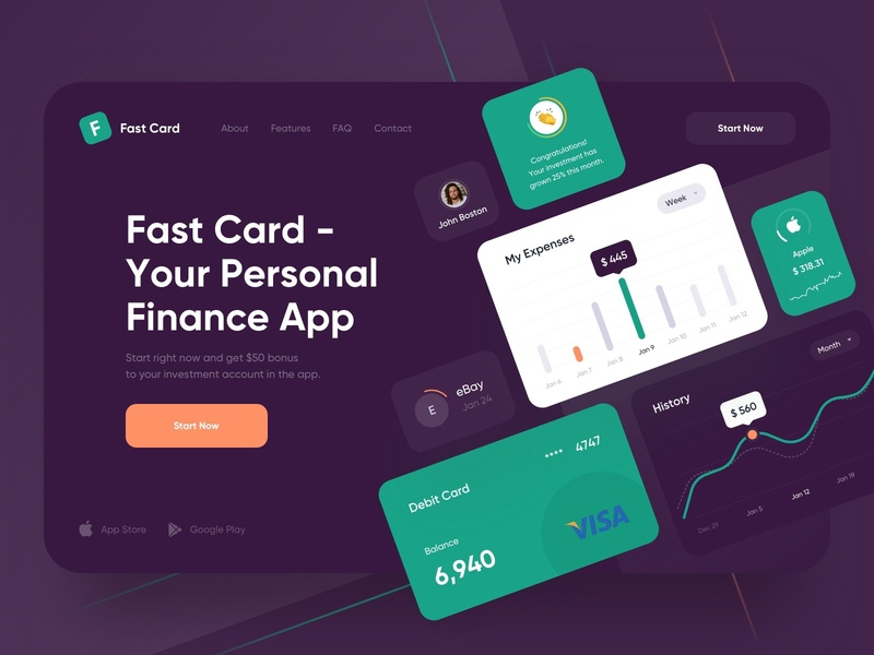 Landing for mobile banking - Webdesign financial finances fintech finance landingpage website design web design banking creditcard credit bank webdesign website web