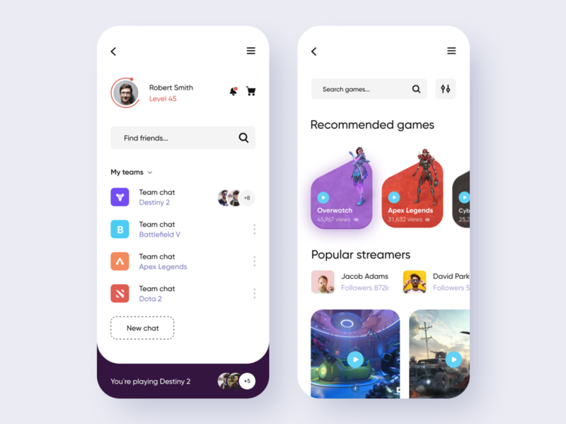 Game streaming service - Mobile app mobile design gaming app mobile app design mobile ui mobile app app design ux  ui ux design ux ui design ui streaming service stream interface dashboard ui dashboad