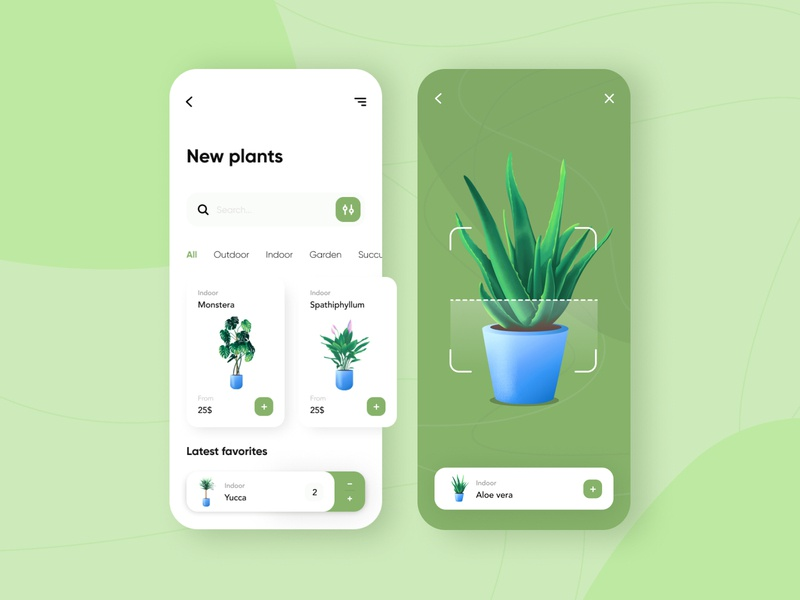 Plant shop - Mobile App illustraion illustration mobile design app virtual reality virtualreality e-commerce shop e-commerce app e-commerce mobile app design mobile ui mobile app app design