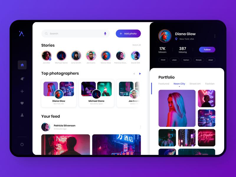 Social network for photographers - App Design