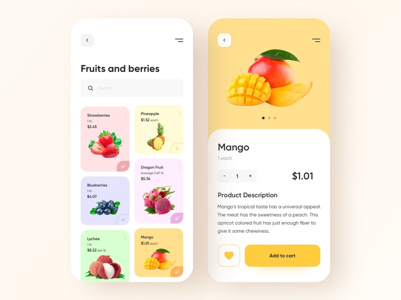 Food shop - Mobile App e-commerce shop food and drink food app e-commerce app e-commerce food mobile design mobile app design app mobile ui mobile app app design