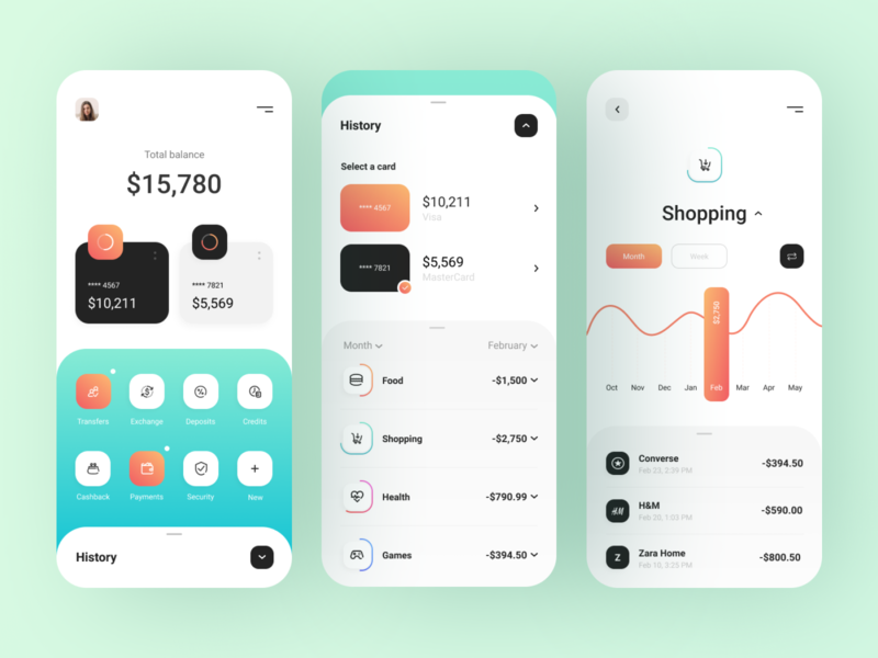 Mobile bank - App Design bank app banking bank financial app finance app finances financial fintech finance mobile design app mobile app design mobile ui mobile app app design