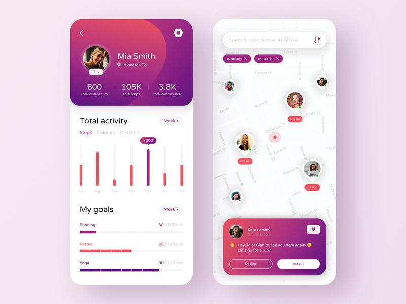Sport App: Tracker & Workout Partners Finder - Mobile App banking app finance bank app banking bank mobile design app mobile app design mobile ui mobile app app design