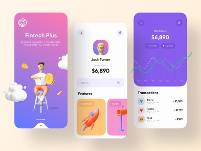 Fintech Plus - Mobile App fintech app financial app financial finance app finances bank banking fintech finance mobile design mobile app design app mobile ui mobile app app design