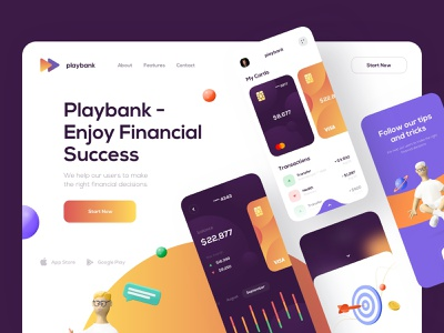 Play bank - Web Design bank card banking bank fintech financial finances finance landing page landingpage website design web design webdesign website web