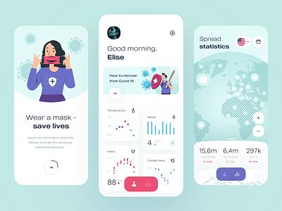 Covid 19 Disease statistics - Mobile App health health care health app healthcare covid 19 covid-19 covid19 covid mobile design mobile app design app mobile ui mobile app app design