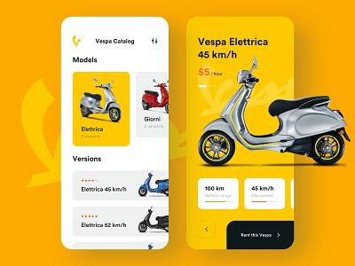 Vespa Rental — Mobile App mobile app design mobile app bike rental app rental mobile design app design mobile ui rent vespa