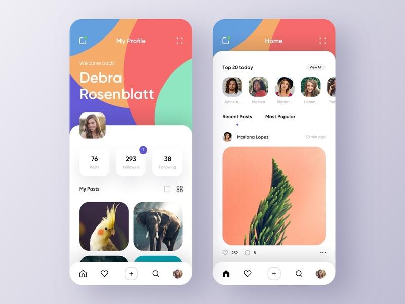 Social app - Mobile Concept app mobile design mobile ui mobile app design app design usability ui social network social app post photo network mobile app interface icon blog