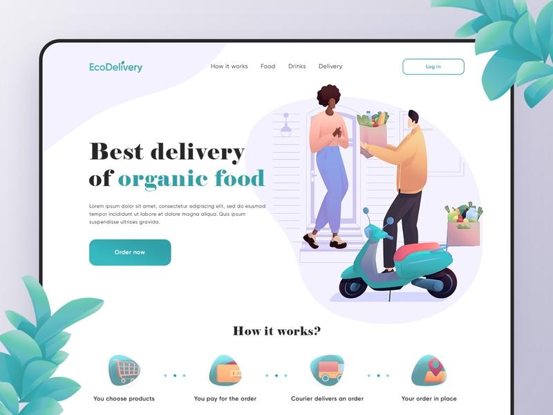 Organic Food Delivery - Web Design food design illustraion website design food delivery service food delivery organic food food webdesig website