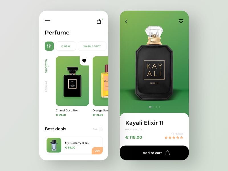 Perfume e-commerce - Mobile App perfumery online shop cart perfumes perfume app design app mobile app design mobile app mobile ui