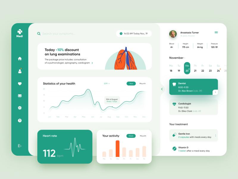 Tracking your Health - App Concept medical app web design dashboard ui dashboard hospital medecine medical crm app design app