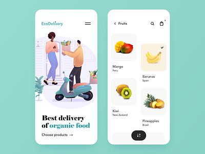Organic Food Delivery - Mobile App mobile app design food app food illustration illustraion mobile design app design mobile organic food food organic deliveries delivery app delivery mobile app mobile ui