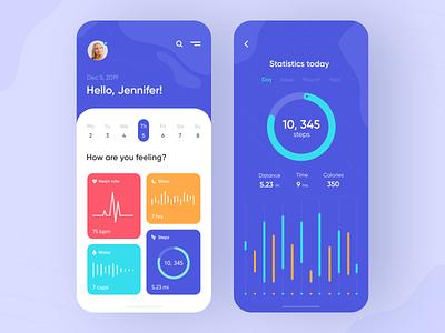 Health tracker - Mobile App app design mobile app design mobile ui medicine medical health app health tracker health app mobile design mobile app