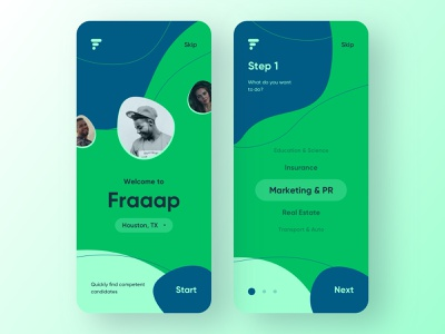 Fraaap connects candidates and employers. social network mobile design onboarding employee job search ux ui mobile ui mobile app design mobile app app design app