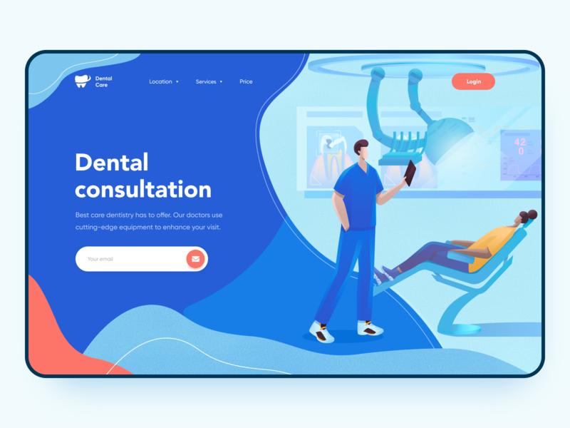 Dental care - Web design dental clinic medicine medical doctor dentist dental care dental homescreen homepage web website concept website design website web design