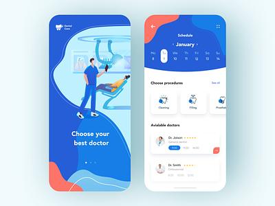 Dental care - Mobile Concept doctor illustraion app mobile design clinic dental clinic dental care dentist dental mobile app design mobile ui mobile app app design