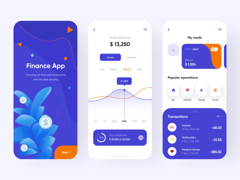 Finance app - Mobile app illustraion app mobile ui credit cards credit card creditcard bank banking app banking financial finance app finances finance mobile app app design