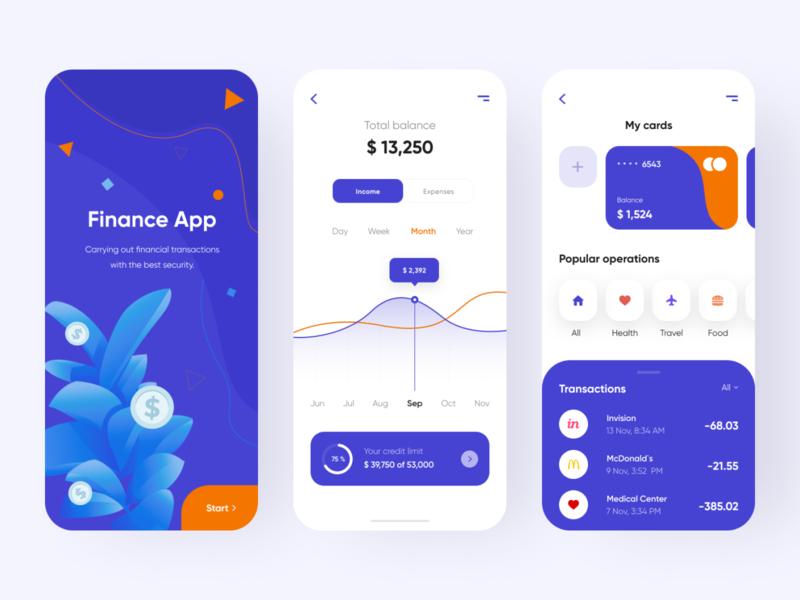Finance app - Mobile app illustraion app mobile ui credit cards credit card creditcard bank banking app banking financial finance app finances finance mobile app app design