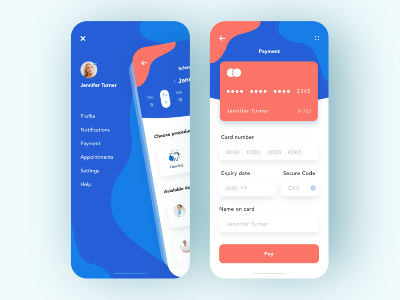 Dental care - App design medical clinic mobile design mobile app design app dental clinic dentist payment payments dental dental care mobile ui mobile app app design