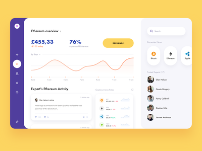 Cryptocurrency CRM - App Design dashboad currency ethereum bitcoin crypto exchange cryptocurrency crypto crm mobile design mobile app design app mobile ui mobile app app design