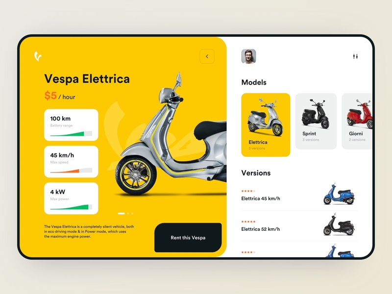 Vespa Rental — App Design mobile app design bike mobile design mobile ui vespa rental rent app mobile app app design