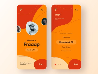 Fraaap connects candidates and employers - 2 onboarding ux design ui design work job search job employer employee mobile design mobile app design app mobile ui mobile app app design