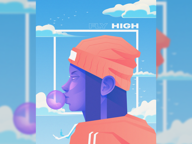 Fly High bubblegum street fashion beanie poster art poster birds sky clouds character art vector illustration