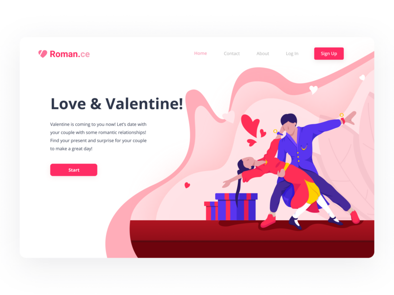 Romance - Header Illustration Valentine Website design landingpage interface header webdesign love datingapp hero illustration uiux ui web valentine
