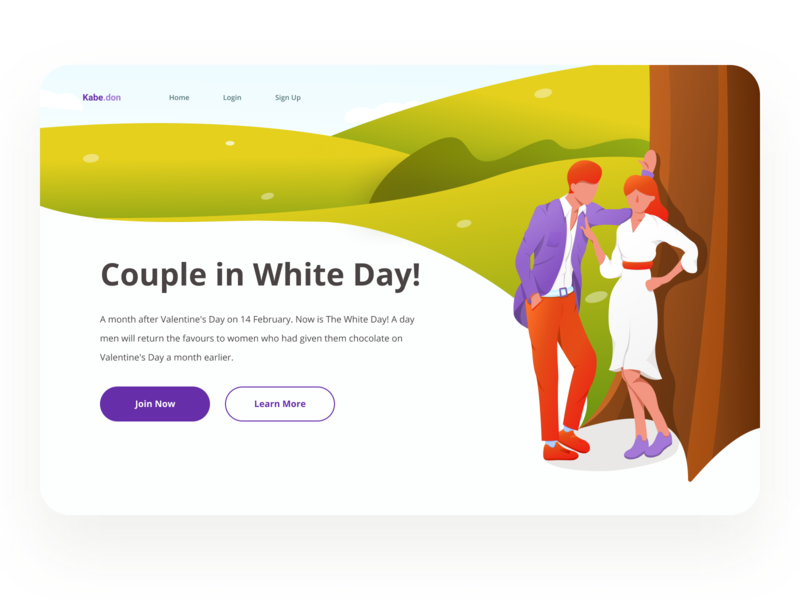 Kabedon - Header Illustration White Day Website couple webdesign web whiteday uiux ui romance love landingpage interface illustration hero header design datingapp