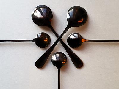 NOON SPOON oneday steel grey concept five mickey picture poster black spoons spoonflower minimalism art design photo spoon noon