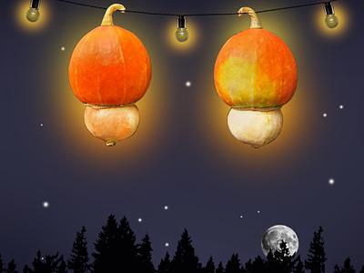 Pumpkin light in the night concept photomontage illustration photography minimalism photoshop art photo halloween night light pumpkin