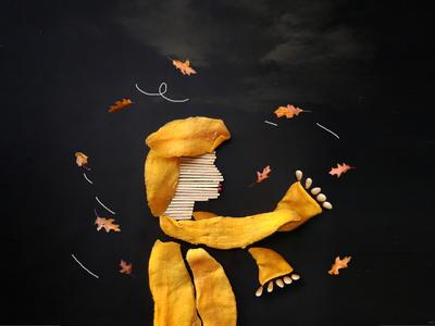 AUTUMANGO illustration photography digital art art photomontage photo montage collage yellow black nuts matches autumn leaves leaves leave wind wings mango autumn