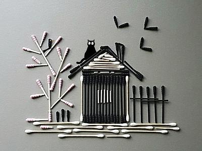 Cotton Bamboo design collage photoshop illustration photography art photo concept nature home bird cat bamboo cotton