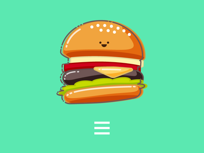 Hamburger Menu Icon pixelgami print hamburger icon cute cartoon