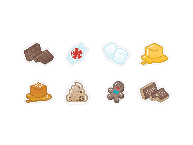 Boba Tea Candy Flavors Icons sticker illustration icon set cute cartoon