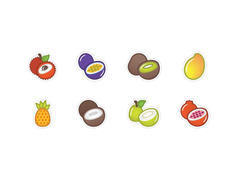 Boba Tea Tropical Fruit Flavors Icons icons illustration pixelgami sticker cute cartoon