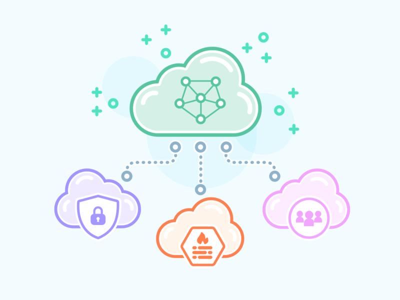 Multicloud Illustration pixelgami cloud computing illustration cute cartoon
