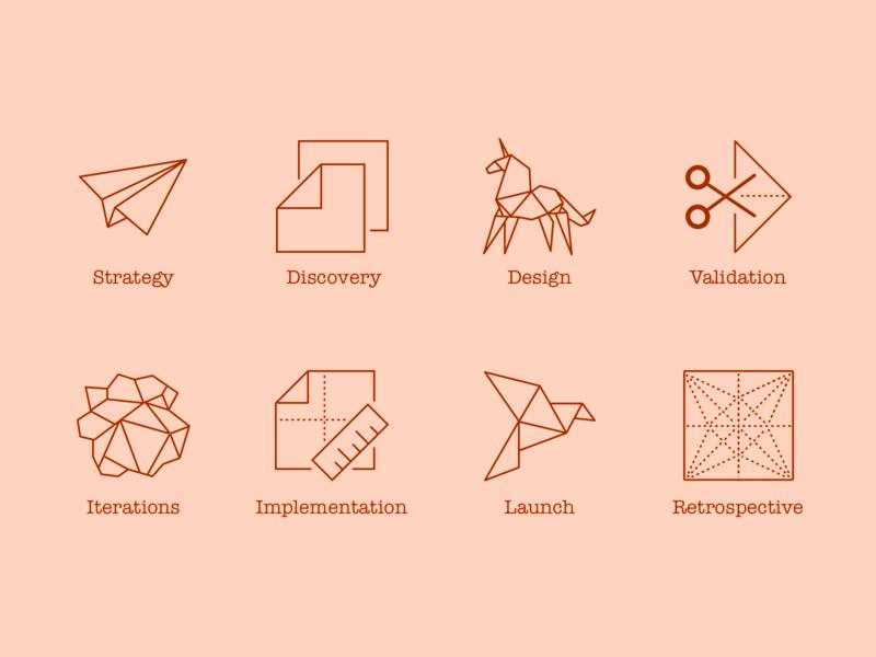 Origami Design Process Icons pixelgami folded creased wrinkled crumpled illustration outline flat minimal cartoon origami icons
