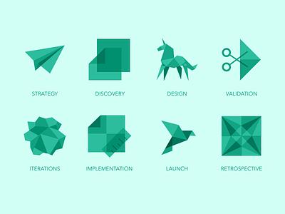 Origami Design Process Icons pixelgami folded creased wrinkled crumpled illustration minimalist monochrome translucent origami icons