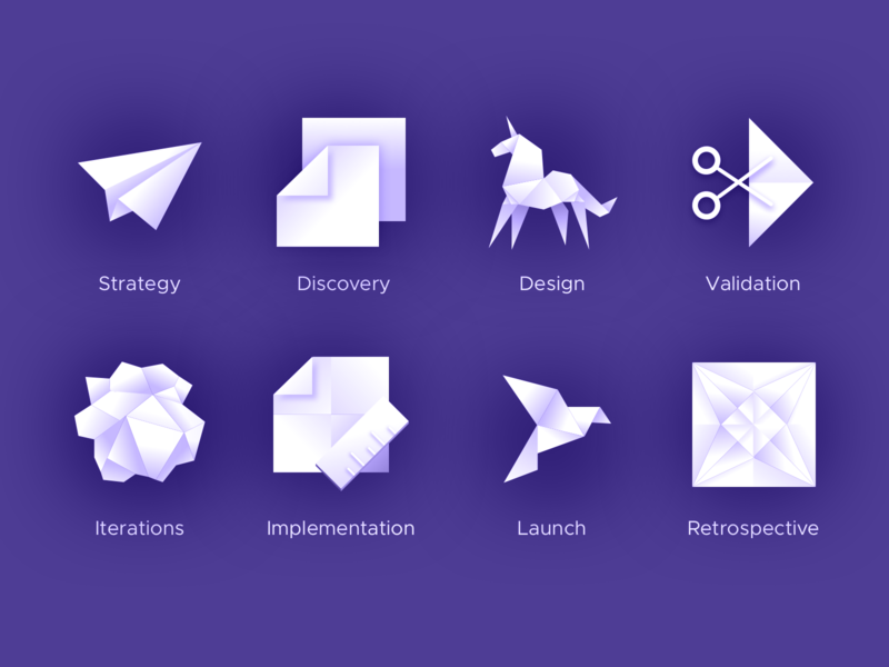 Origami Design Process Icons creased wrinkled crumpled paper folded illustration gradient shadows shaded minimalist 3d monochrome origami icons